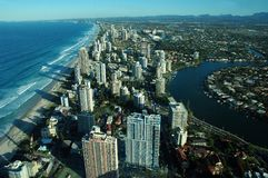 Surfers Paradise. View of Surfers Paradise from Q1 observation deck(tallest residential apartment in the world),Gold Coast, Australia Stock Photo
