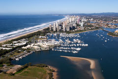 Surfers Paradise Aerial View From Helicopter Stock Images