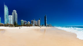 SURFERS PARADISE, AUS - OCT 03 2015 Skyline and a beach of Surfe Stock Image