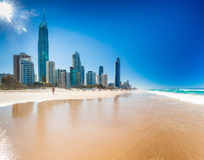 SURFERS PARADISE, AUS - OCT 03 2015 Skyline and a beach of Surfers Stock Image