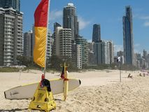 SURFERS PARADISE, AUSTRALIA- DECEMBER, 4, 2016: lifeguard rescue board on the beach at surfers paradise. SURFERS PARADISE, AUSTRALIA- DECEMBER, 4, 2016: close up royalty free stock photo
