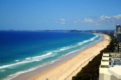 Surfers Paradise Beach. View across Surfers Paradise beach looking South down the Gold Coast in Australia Royalty Free Stock Image