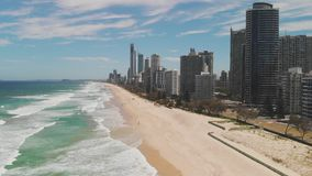 Surfers Paradise beach from aerial drone perspective, Gold Coast, Queensland, Australia. Surfers Paradise beach from an aerial drone perspective, Gold Coast stock footage