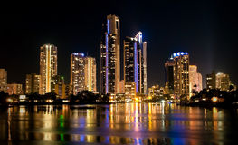 Surfers Paradise Buildings at Night in Australia Stock Images