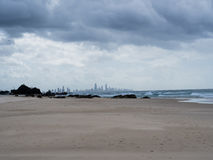 Surfers Paradise from Currumbin Beach. Looking North to Surfers Paradise from Currumbin Beach, Queensland, Australia Royalty Free Stock Photography