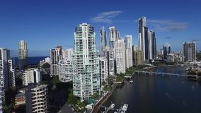 Surfers Paradise high rise accommodation stock video footage