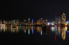 Surfers Paradise at night Gold Coast Qld Australia. Reflecting lights from surfers paradise over broadwater at night gold coast queensland australia Royalty Free Stock Photography