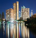 Surfers paradise at night on square format Royalty Free Stock Photos