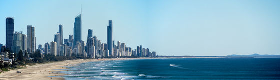 36x12 inch Surfers Paradise Panorama Royalty Free Stock Images