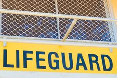 Australian lifeguard tower at Surfers Paradise, QLD, Australia. Surfers Paradise, Queensland, Australia-December 23, 2017: Lifeguard tower. Australian lifeguards Stock Image