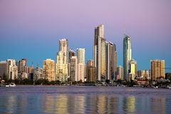 Surfers Paradise at sunset Royalty Free Stock Photos