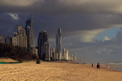 Surfers Paradise under the clouds Stock Photography
