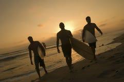 Surfers portant des planches de surf hors du ressac au coucher du soleil Images stock