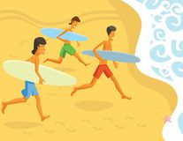 Surfers Running into the Ocean Stock Photography