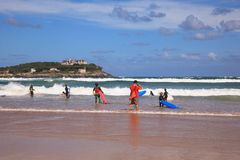 Surfers into the sea with surf boards Stock Photo