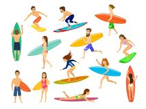 Surfers set. men and women surfing, riding waves, stand , walk, run, swim with surfboards, vector illustration