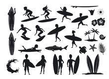 Surfers silhouettes set. men and women surfing, riding waves, stand, walk, run, swim with surfboards, symbols design decoration,. Palm tree, leaf, turtle, shark stock illustration