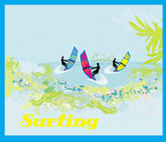 Surfers on a sunny day,illustration Royalty Free Stock Images