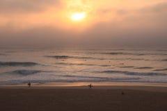 Surfers sur la plage au coucher du soleil Photo stock