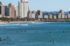 Surfers Surfing on Sea Against City Skyline in Durban Royalty Free Stock Photography