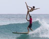 Surfers tandem Photographie stock