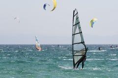 Surfers on Tarifa. Spain. stock photography