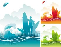 Surfers team. Vector illustration with three surfers silhouettes Stock Photo