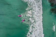 Surfers in tropische oceaan wachtende golf Luchtdiemening met Dr. wordt gemaakt stock afbeelding