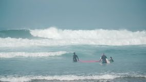 Surfers trying to catch waves stock footage