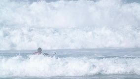 Surfers trying to catch waves stock video footage