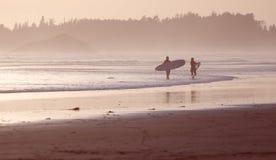 Surfers van Tofino bij zonsondergang royalty-vrije stock foto's