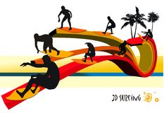 Surfers vector composition Royalty Free Stock Photo
