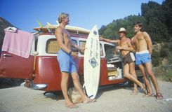 Surfers by VW van. In Northern CA Stock Images