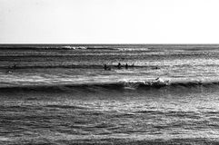 Surfers waiting Stock Image