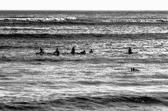 Surfers waiting Stock Images