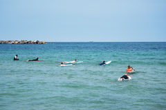 Surfers. Surfers waiting wave, Donostia, Spain Royalty Free Stock Images