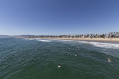 Surfers Waiting For Waves at Venice Beach California Royalty Free Stock Photos
