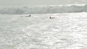 Surfers on the wave stock video footage