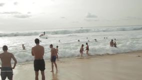 Surfers on the wave stock footage