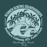 Surfers wear typography emblem Huntington Beach- Stock Images