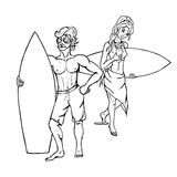 Surfers - a woman and a man. Two  from each other concept of surfers - a man and a woman. Black and white vector illustration isolated on white background Royalty Free Stock Photo
