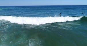 Surferwrak in de oceaan stock footage