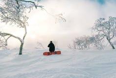 Surfeur par derrière l'agenouillement sur la montagne neigeuse photo libre de droits