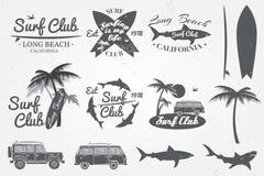 Surfez l'emblème de club, le rétro insigne et les éléments de conception Illustration de vecteur illustration stock