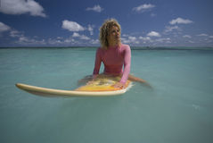 Surfgirl In Pink Swimsuit On Mauritius Stock Image