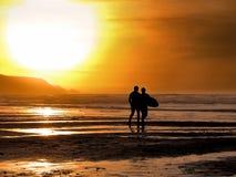 surfiarze sunset zdjęcia stock