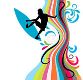 Surfing. Background with surfing man and splashes Stock Image