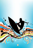 Surfing. Background with surfing man and splashes Royalty Free Stock Photo