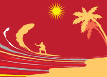 Surfing. Vector illustration. Marine background. Surfing Stock Image