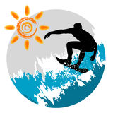Surfing. Grunge style surfing  illustration vector Royalty Free Stock Photo